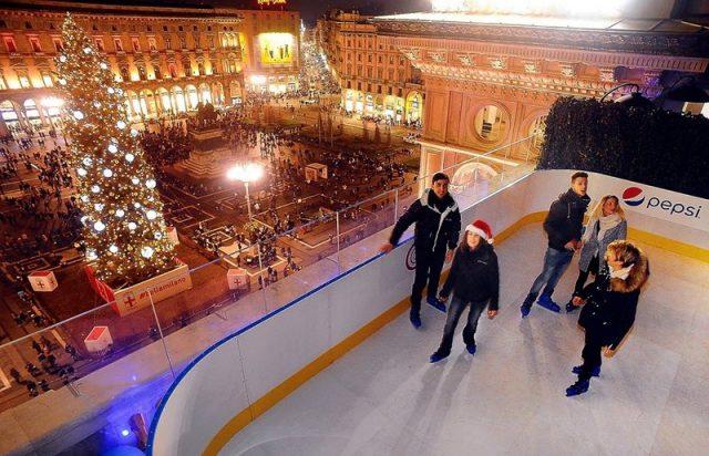 Piste di pattinaggio sul ghiaccio a Milano